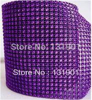 (FL98)5 Yards Dark Purple Color Sparkle Rhinestone Crystal Diamond Mesh Wrap Roll Ribbon