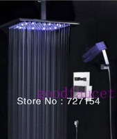 "Free shipping! LED Light Rain 12"" ABS Plastic Shower Head Bathroom Shower Set Faucet Chrome Finish"