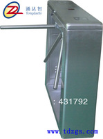 Right angle bridge type tripod turnstile barrier