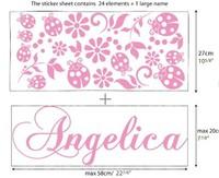 Custom Name Ladybug Vinyl Wall Sticker for Girls Removable Art Decal