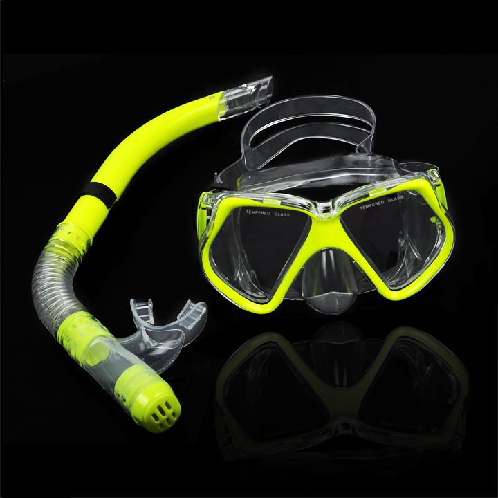 New Fluorescence Yellow Scuba Diving Equipment Dive Mask + Dry Snorkel Set Scuba Snorkeling Gear Kit TK0868(China (Mainland))