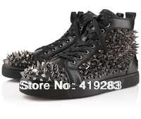 Brand red bottom sneakers for men with rivets lace up leisure flat shoes men