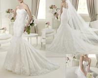2013 New Style Mermaid Fashion Applique White Royal Wedding Dresses (Sent you a veil) OD20171
