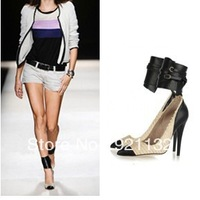 J222-15 Top Models Favorite Color Block Ankle Wrapped Pointed Toed High-heeled Pumps