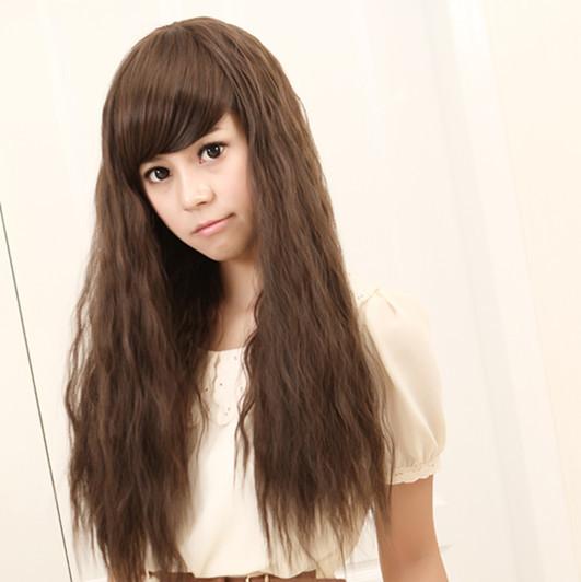 Grátis frete peruca meninas cabelos longos encaracolados franja oblíqua reparação pintura fofo(China (Mainland))