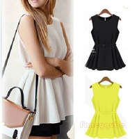 BEST BACK SINGLE GRAIN BUCKLE CREW NECK SLEEVELESS CHIFFON TOPS WITH BELT WITH LINING WF-4318