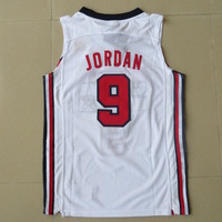 High quality Embroidery logos 1992 Olympics USA Dream Team Jordan Basketball 9# Jersey White  Free Shipping,Retail& Wholesales