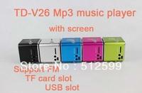 High quality 60pcs via dhl fast ship td-v26 Mini Speaker sound box support TF card / FM function USB flash for PC cellphone Mp3