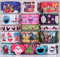 Free shipping 15 Yards Mixed Christmas minnie&monster high&ladybug&beauty and beast grosgrain ribbon+Resin flat back M16
