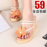 2013 sweet shoes belle japanned leather toe-covering high-heeled wedges platform belt flower foam slippers