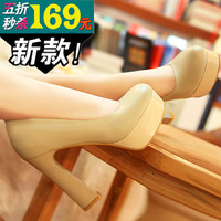 2013 spring fashion genuine leather women's shoes black high-heeled shoes nude color platform thick heel high-heeled single