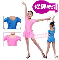 Summer short-sleeve dance clothing child leotard Latin one piece clothes female child dance clothes  kids apparel