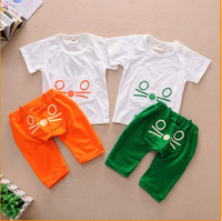 Children's clothing summer child baby set baby clothes openable-crotch kitten short-sleeve T-shirt male female child summer