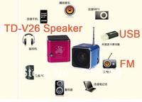 DHL fast ship 10pcs Fashion Square design Mini Sound box TD-V26 MP3 player Mobile Speaker with FM Radio TF Card slot USB Disk