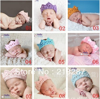 Free Shipping! 2013 New 10pcs/lot Baby Girl or Boy Crochet Crown baby crown Headband newborn baby photography prop