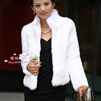 Plus size women faux slim outerwear fashion long-sleeve stand collar fur rabbit hair coat size m--XXXL