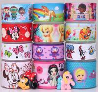 Free shipping12 Yards Mixed Lot Mickey&Princess&Tinkerbell Cat grosgrain ribbon+Resin flat back Bow M30