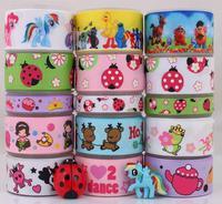 Free shipping15 Yards Mixed Lot ladybug&pony&sesame&toy story&Skull&my little pony grosgrain ribbon+ Resin flat back Bow M3