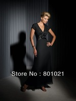 Total New Style A-line Silk Chiffon Directionally Pleated Bodice V-neck Neckline Mother of the Bride Dress