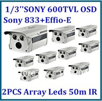 SONY CCD 600TVL Effio-E 2PCS Array IR Leds night vision outdoor waterproof Security camera