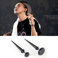 promotion! Bigbang gd stud earring black wafer elsin titanium stud earring male   sale free shipping