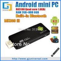 MK809III Android 4 2 Quad Core Mini PC with Bluetooth RK3188 TV Dongle 1.6GHZ 2GB RAM 8GB ROM TV Box HDMI WiFi Freeshipping