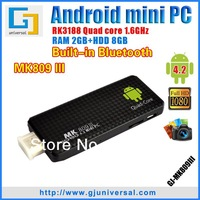 MK809III Android 4 2 Quad Core Mini PC with Bluetooth RK3188 TV Dongle 1.6GHZ 2GB RAM 8GB ROM TV Box HDMI WiFi Freeshipping