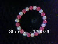 rhinestone 8mm  diy  diamond ball polymer clay elastic rope women's bracelet girlfriend gifts