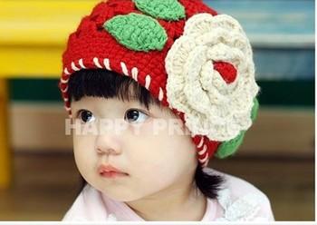 Wholesale baby cap  children big cotton flower  Crochet  hat --red color Children's accessories