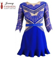 Free Shipping Blue Fashion Ladies lace splicing dress