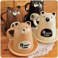 Espresso Cups Cartoon bear plastic lid dish lovers coffee iopened milk tea breakfast zakka water cup