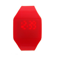 Hot!Free shipping Gift enmex jelly table led table touch screen red light fashion watch