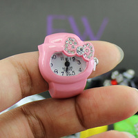 Hot!Free shipping Female watch finger table ring watch n small kt bow diamond ring watch pink child cartoon