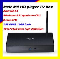 Strongmoves Mele M9 Android4.1 HD player Allwinner A31 quad core 8 core GPU 2GB DDR3 16GB flash 4096*2160 UHD free shipping