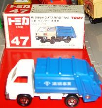 Tomy red and white box alloy car 47 sweeper accidnetal