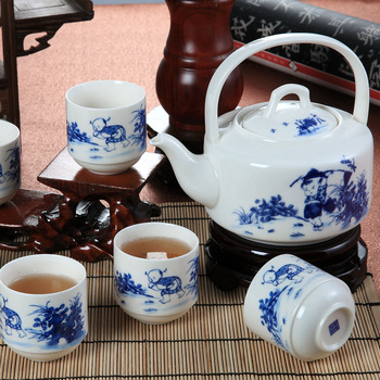 Free Shipping Special pottery and porcelain 7 big tea set teapot teaberries bone china kung fu ceramic tea cups  coffee sets