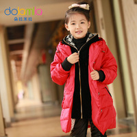 Dora child female child cotton-padded jacket child hooded thickening wadded jacket outerwear 2012 winter