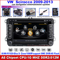 Car DVD for VW Volkswagen Scirocco  with1G CPU GPS FM ipod 3G WIFI Host HD S100 Support DVR screen audio video player Free Map