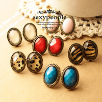 hot sell fashion lovely women girls jewelry multi style vintage oval hoop leopard big stud earrings free shipping