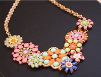 NS420 2013 Hottest European Exaggerated Rhinestone Sun Flower Colorful Choker Necklace for Female Luxury Jewelry