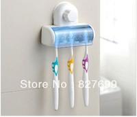 Free shipping Home Bathroom Toothbrush Holder Stand Rack Plastic Set 5 Bin