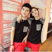2013 lovers summer loose leopard print patchwork T-shirt lovers short-sleeve shirt short-sleeve female