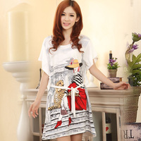 Nightgown spring and autumn summer cartoon lounge summer short-sleeve sexy sleepwear