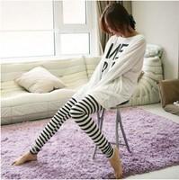 Free shipping women's clothing 2015 autumn and winter new Korean fashion black and white horizontal stripes slim ninth Leggings