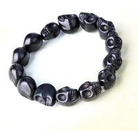 Charm Candy Color Punk Rock Skull Turquoise Beads Elastic Bangle Bracelet New