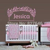 Wall Decals Sticker Bedroom Kids Nursery Baby Custom Name Monogram Personalized Flowers Sign Words Frame
