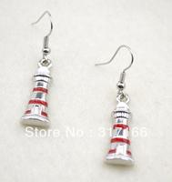 Free Shipping red enamel lighthouse charm earring(E006-1)