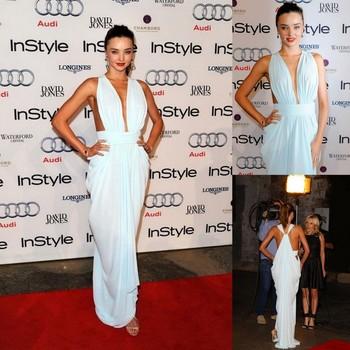 2014 New Simple Elegant Miranda Kerr Celebrity Dress Ruffle V-neck Sleeveless Floor Length Fashion Evening Gowns