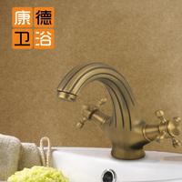 Fashion rustic faucet copper antique basin antique brass vintage stripe (KP)