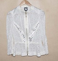 2013 fashion paper cutting cutout zipper-up long-sleeve short jacket